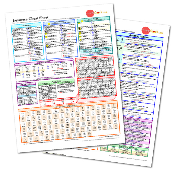 Japanese cheat sheet preview