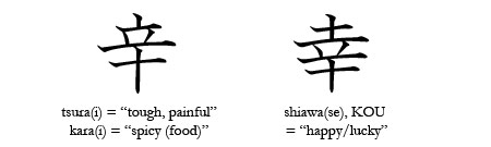 comparison of similar Japanese kanji