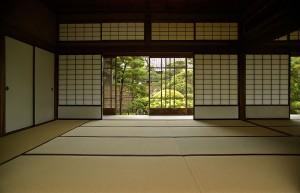 Tatami floor mats in a Japanese room