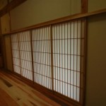 障子 (shouji) : Japanese sliding paper doors.